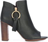 See by Chloe peep toe booties - women - Calf Leather/Leather/rubber - 37