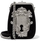 Prada Embellished Velvet Shoulder Bag - Black