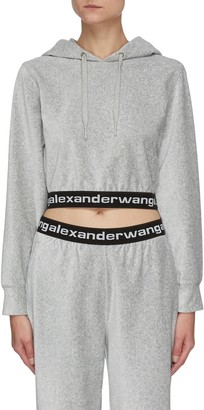 alexanderwang.t Elastic Logo Trim Crop Hoodie