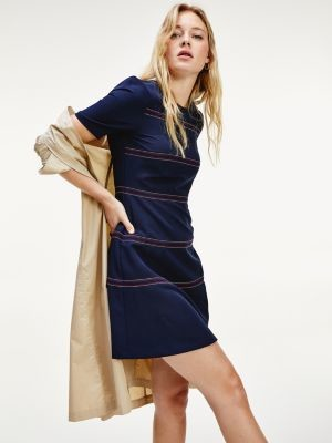 Tommy Hilfiger Contrast Stitching Fit And Flare Dress
