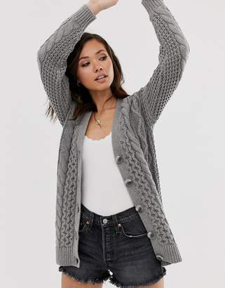 Abercrombie & Fitch cable cardigan in grey