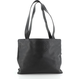 Chanel Vintage CC Logo Tote Leather Large