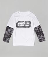 CB Sports White Layered Logo Tee - Boys