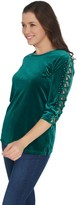 Factory Quacker Rhinestone Lattice Sleeve Knit Velvet Top