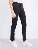 Paige Julia faux-pearl-detail straight high-rise jeans