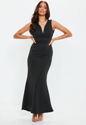 Missguided Petite Black V Plunge Scuba Maxi Dress