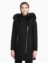 Calvin Klein Asymmetrical Zip Double Face Coat