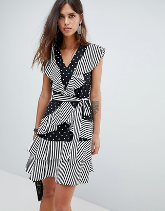 Y.A.S dot and stripe mini ruffle dress