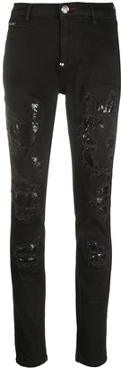 Philipp Plein Distressed-Effect Embellished Jeans