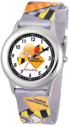 Red Bubble Red-Bubble Watch W002074 Boy's Teaching Quartz White Dial Fabric Strap Multicoloured
