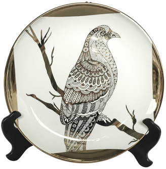 Sagebrook Home Ceramic Plate With Stand, Hawk White/Gold