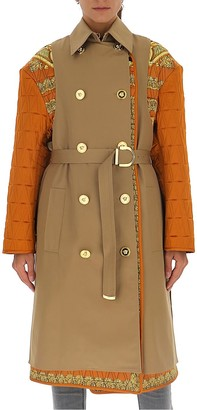 Versace Contrasting Panelled Belted Trench Coat