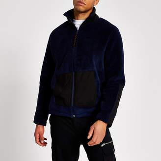 River Island Navy teddy fleece half zip sweatshirt