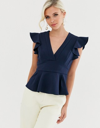Forever New peplum top in navy