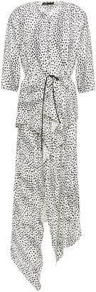 Maje Rosa Asymmetric Cupro-blend Leopard-jacquard Midi Dress
