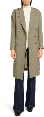 Chloé Double Breasted Houndstooth Wool Coat