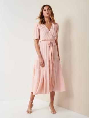 Forever New Jordan Puff-Sleeve Tiered Midi Dress - Blush - 10