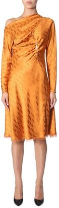 Versace Draped Chain Detail Midi Dress