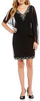 J Kara V-Neck Beaded Asymmetrical Sheath Capelet Dress