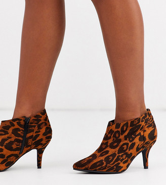 Simply Be Wide Fit Simply Be wide fit kitten heel ankle boot in leopard print