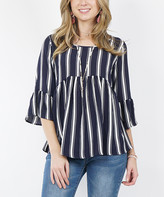 42pops 42POPS Women's Tunics White - White & Navy Stripe Ruffle-Sleeve Babydoll Tunic - Women