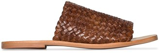 ST. AGNI brown Pia Woven Leather Slides