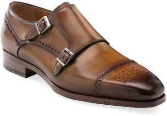 Magnanni Men's Nelson Double-Monk Brogue Leather Loafers