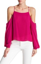 Nicole Miller Silk Cold Shoulder Blouson Sleeve Blouse