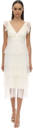 Marchesa Sparkly Tulle Midi Dress