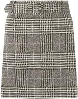 Dorothy Perkins Grey Check Print Belted Mini Skirt