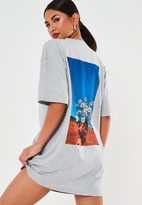 Missguided Gray Oversized Daisy Graphic Back T Shirt Dress