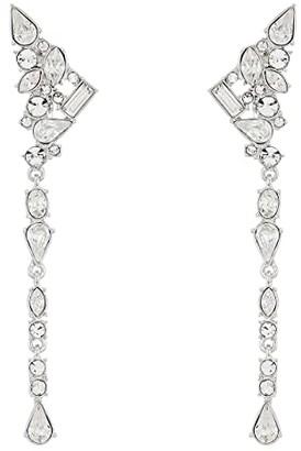 Vince Camuto Ear Climber Linear Clip Earrings (Rhodium/Crystal) Earring
