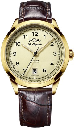 Rotary Men's Automatic Watch with Yellow Dial Analogue Display and Black Leather Strap GS90185/03