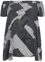 Yours Clothing YoursClothing Plus Size Womens Tee Shirt Top Ladies Geo Stripe Bardot Swing
