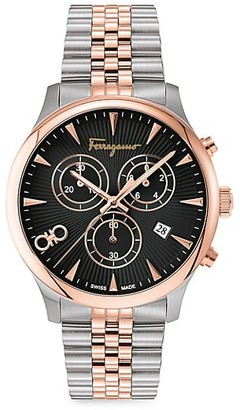Salvatore Ferragamo Duo Rose Goldplated & Stainless Steel Chronograph Watch