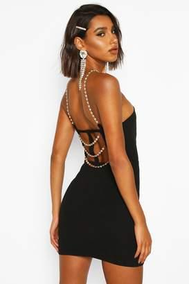 boohoo Diamante Strap Back Mini Bodycon Dress