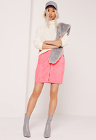 Missguided Faux Suede Zip Through Mini Skirt Pink