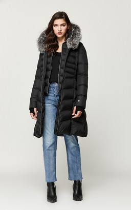 Soia & Kyo ROUX fit and flare down coat with silver fur trim