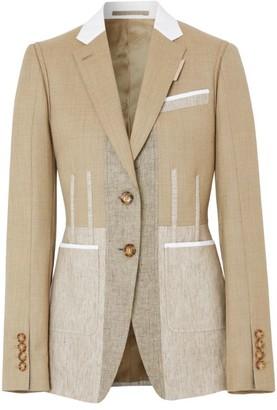 Burberry Contrast Seam Wool-Cashmere Blazer