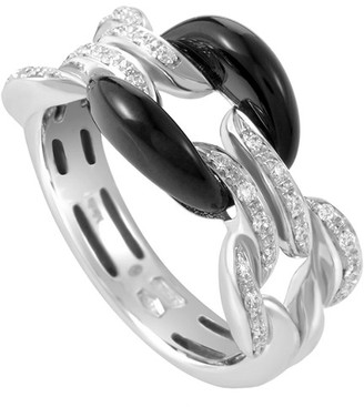 Damiani Certified 18K 0.14 Ct. Tw. Diamond & Onyx Ring