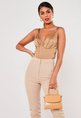 Missguided Toffee Satin Corset Trim Bust Cup Bodysuit