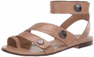 Naturalizer Womens Tassy Bamboo Tan Crocco Ankle Strap Flat Sandal 8 N