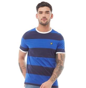 Lyle And Scott Vintage Mens Wide Stripe Ringer T-Shirt Duke Blue