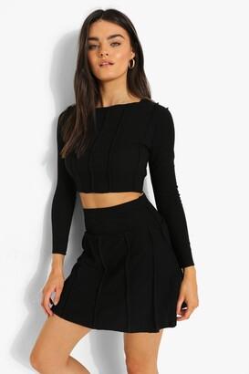 boohoo Exposed Seam Crinkle Rib Crop And Skater Skirt