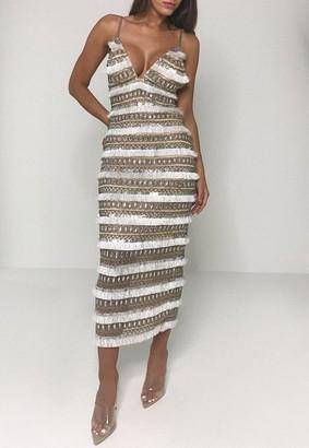 Missguided White Fringe Embellished Strappy Midi Dress