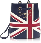 Charlotte Olympia Feline Navy, Red & Off White Grained Leather Bucket Bag