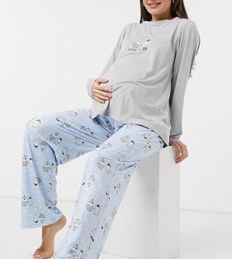 Loungeable Maternity 'Flippin' Love You' Penguin super soft pyjama set