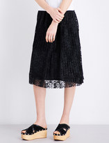 See by Chloe Pleated floral-lace skirt