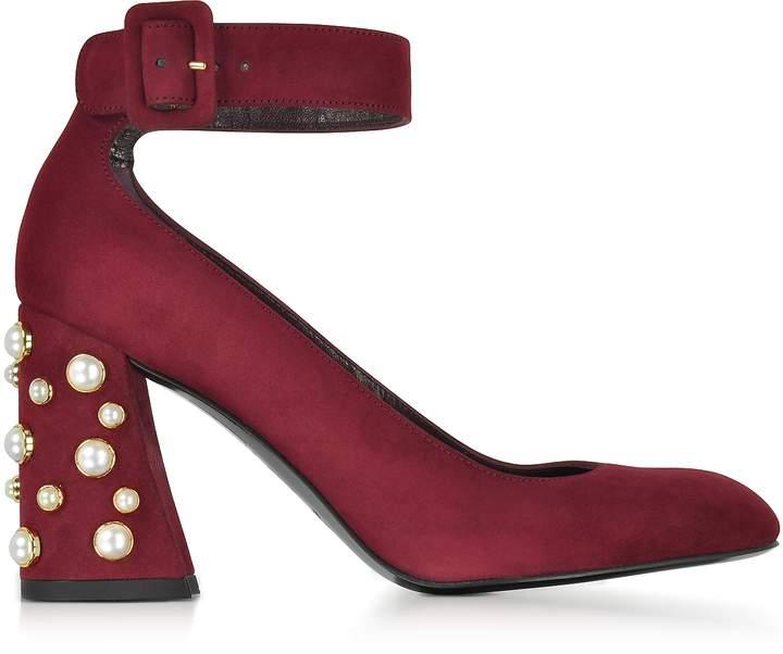 Stuart Weitzman Pearlclarisa Scarlet Suede Ankle Strap Pumps w/Pearls