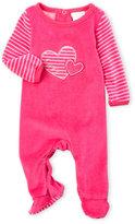 Absorba Newborn/Infant Girls) Embroidered Heart Velour Footie